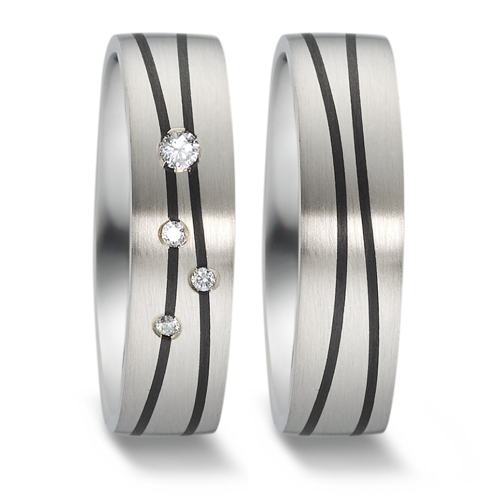 Partnerring  73 76012/055 1415 4 Au375 weiss / Carbon
